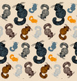 seamless pattern with fluffy cat hand drawn vector image vector image