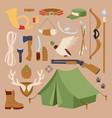 set hunting symbols camping objects design vector image