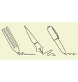 set writing accessories one line drawing vector image