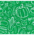 simple hand drawn doodle vegetables on green board vector image vector image