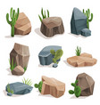 stones and nature rocks set with green grass and vector image