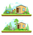 summer day in garden summer landscapes with vector image vector image