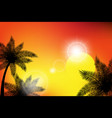 summer tropical backgrounds with palms sky and vector image vector image