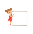 sweet girl character with white empty message vector image vector image