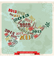 Vintage Happy New year 2013 peace dove vector image
