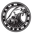vintage monochrome marine round print with big vector image vector image