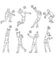 volleyball players line silhouettes set sketch vector image