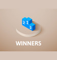winners isometric icon isolated on color vector image