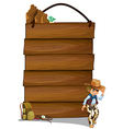 A cowboy and the empty wooden signboards vector image vector image