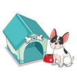A dog sitting in front of the blue doghouse vector image vector image