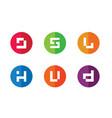 alphabet j s l h u d logo set vector image vector image