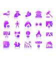 bankruptcy simple purple gradient icons set vector image vector image