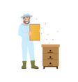 beekeeper farming person bees vector image