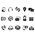 black contact us service icons set vector image vector image