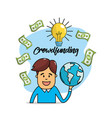 bulb idea with bills and global business vector image vector image