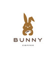bunny hare rabbit coffee logo icon vector image