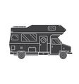 camping trailer family traveler truck outline icon vector image