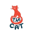 Cat freehand drawing with lettering vector image vector image