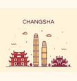 changsha skyline hunan province china line vector image vector image