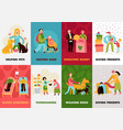 charity types cards set vector image vector image