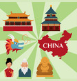 chinese asian oriental decoration sightseeing vector image