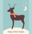 christmas deer dreaming under the stars vector image vector image