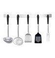 cooking tools rack realistic vector image vector image