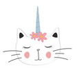 cute cat unicorn with motif for poster vector image