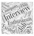Enthusiasm in a Job Interview Word Cloud Concept vector image vector image
