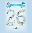 floral number twenty six with ribbon and birds vector image vector image
