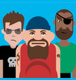 group three tough guys vector image vector image