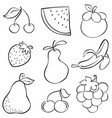 hand draw fruit various style doodles vector image vector image