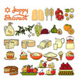 happy shavuot icon set of cute various shavuot vector image vector image