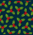 hollyberry christmas seamless pattern festive vector image