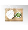 isolated cup of coffee collection green tea with vector image vector image