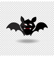 kawaii cartoon bat with fangs and red eyes on vector image vector image