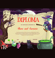 kids diploma with halloween characters vector image vector image