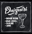 lettering name of cocktail with glass template vector image vector image