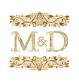 m and d vintage initials logo symbol letters vector image vector image