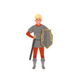 medieval warrior character with shield and sword vector image vector image