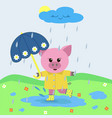 mumps in the rain with an umbrella vector image