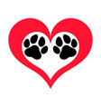 pawprints heart vector image vector image