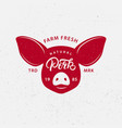 pork logo label print poster for butcher shop vector image