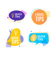 quick tips concept with abstract memphis style vector image