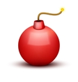 Red Bomb About To Blast with burning wick vector image