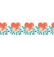seamless border hearts flowers love valentine vector image