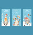 set banners for christmas with reindeer vector image