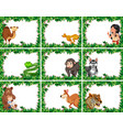 set of animal on nature border vector image vector image