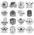 set of baseball and tennis club badge vector image