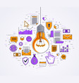 shining light bulb and set of icons business idea vector image vector image